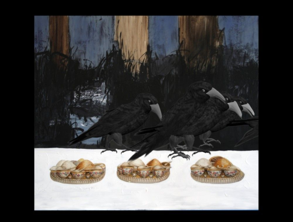 FARIDEH LASHAI, Keep Your Interior Empty of Food that You Mayest Behold There in the Light of Interior, Crows, video still), 2010-2012