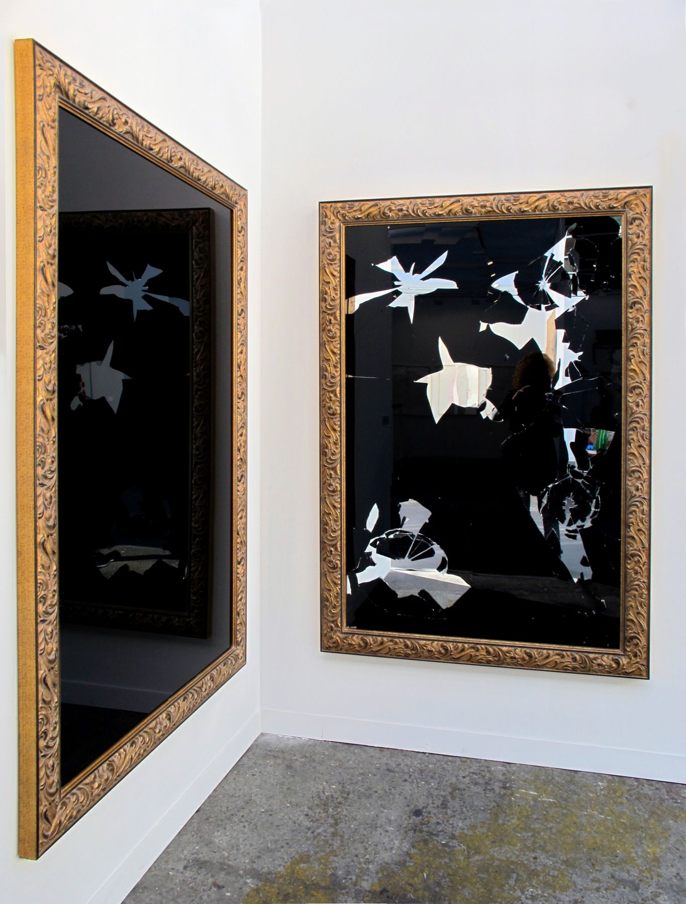 Two Less One Black, 2011, Black and silver mirror, gilded wood