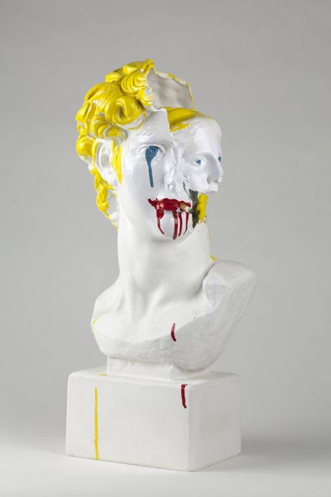 Bruce High Quality Foundation, Self Portrait, 2013, Plaster bust, enamel paint, cigarette butt, 24 x 12 x 11 in