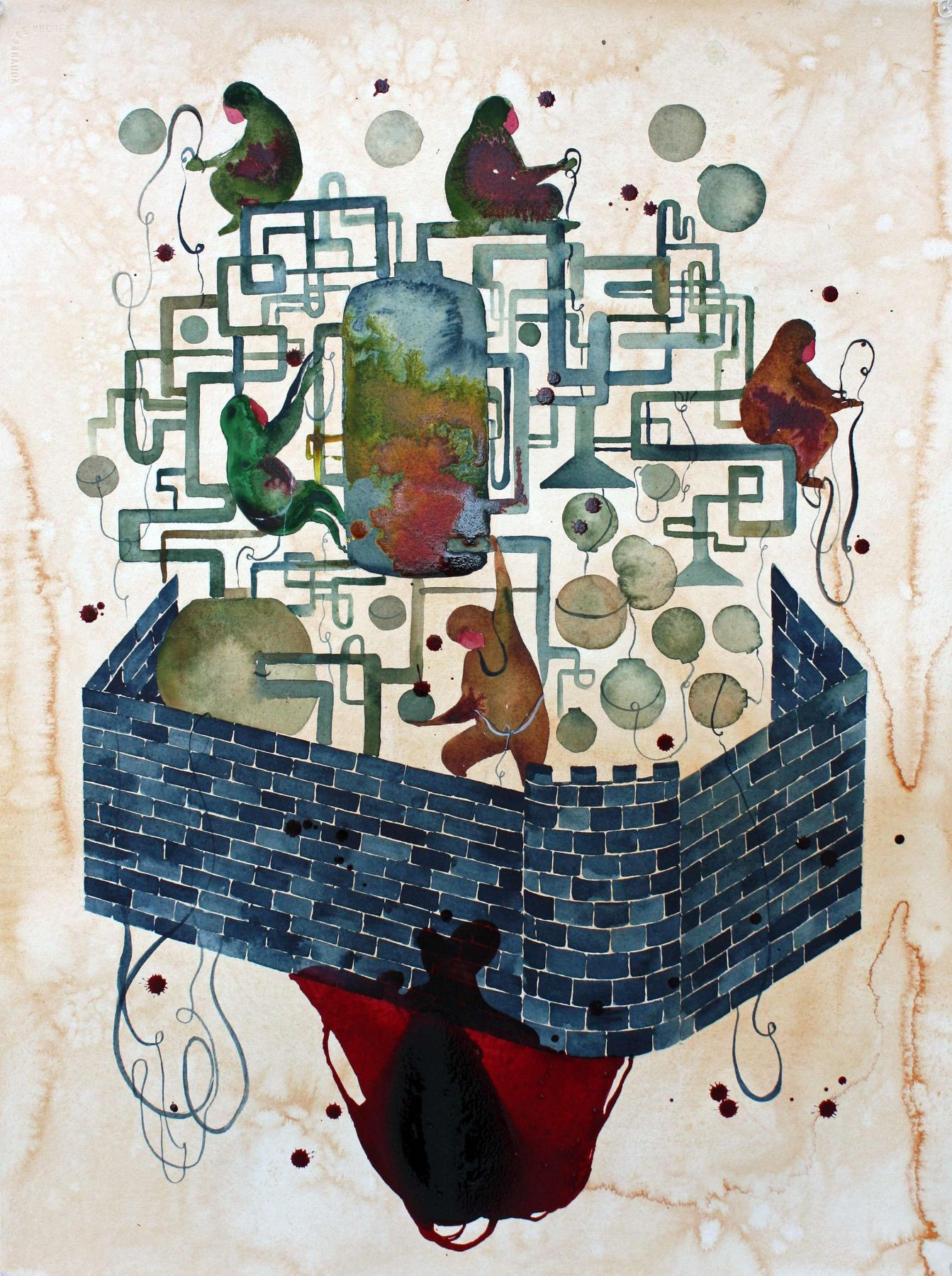 Shiva Ahmadi, Brick Wall, 2017, Watercolor and ink on paper, 30 x 22 in