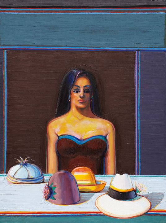 Wayne Thiebaud, Girl with Four Hats, 2014