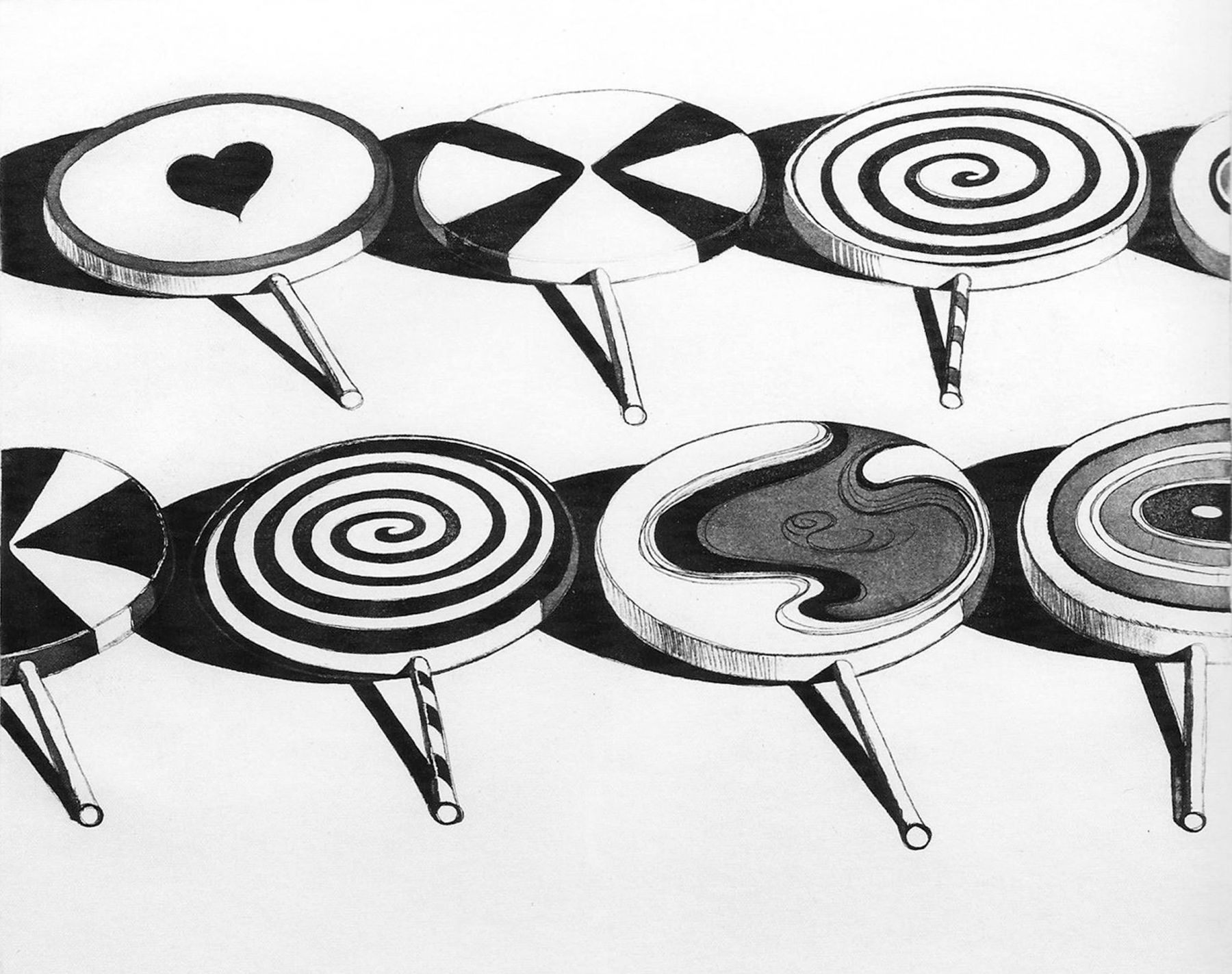 Wayne Thiebaud, Black Suckers (from Seven Still Lifes and a Silver Landscape),1971