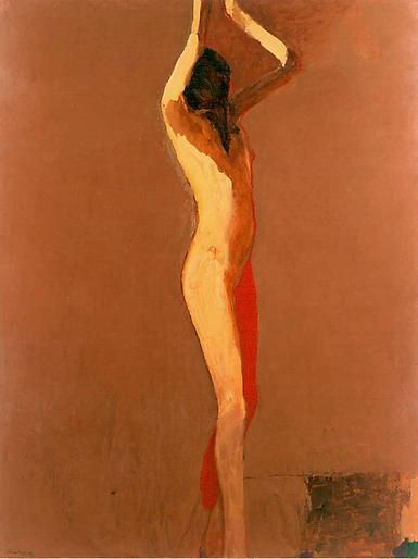 Nathan Oliveira Nude with Red Leg