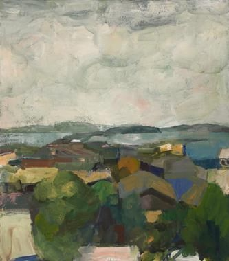 Elmer Bischoff Rooftops and Bay
