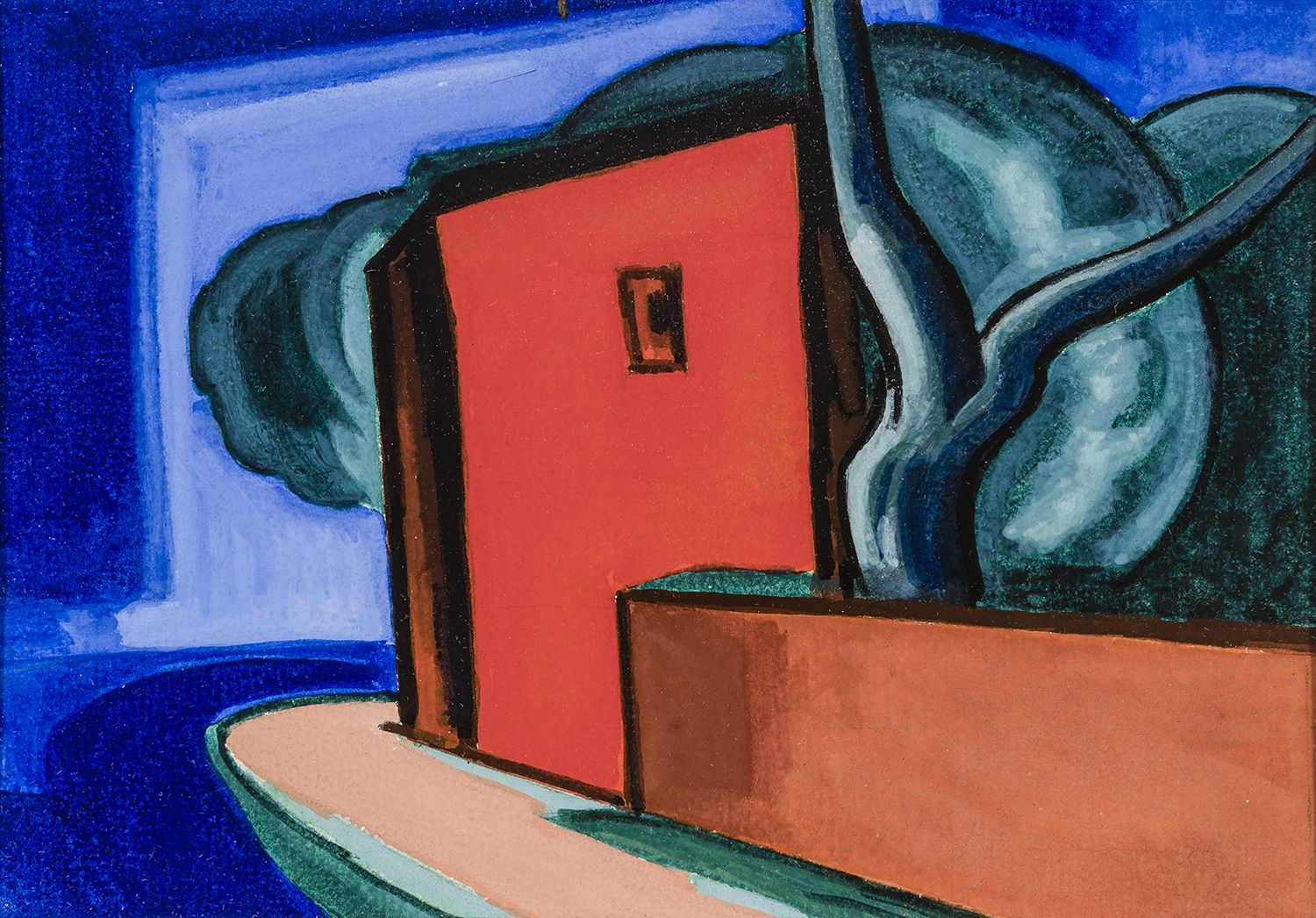 Oscar Bluemner Untitled (Red Building by Canal)
