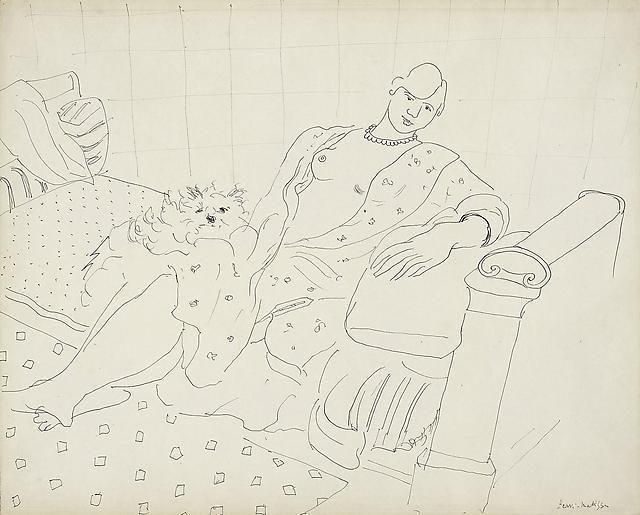 Femme au chien sur le petit lit vert 1929,