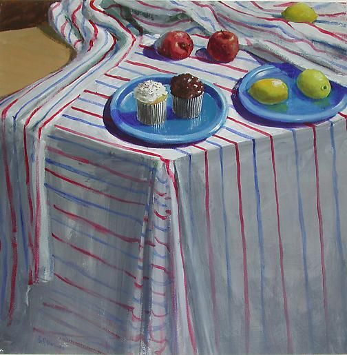 Striped Cloth with Fruit and Cupcakes