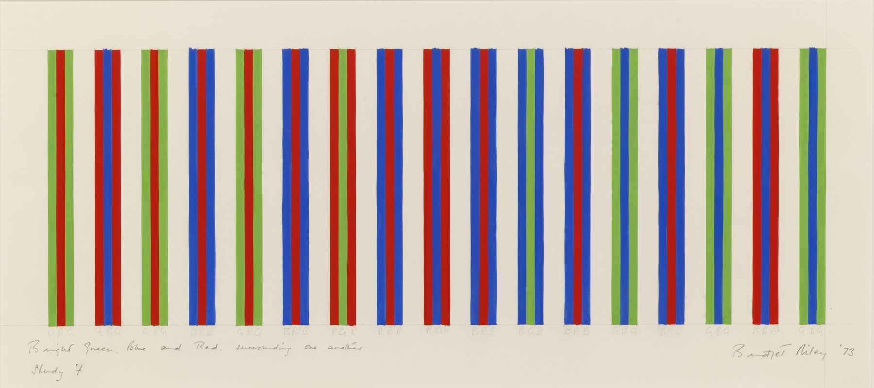 Bridget Riley, Bright Green, Blue and Red, Surrounding One Another, Study 7, 1973