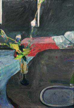 Richard Diebenkorn Interior with Flowers 1961 oil on canvas 56 3/4 x 38 3/4 inches