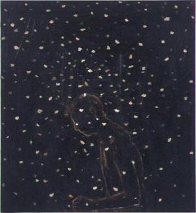Snow-walk 2002 oil and emulsified tar on canvas