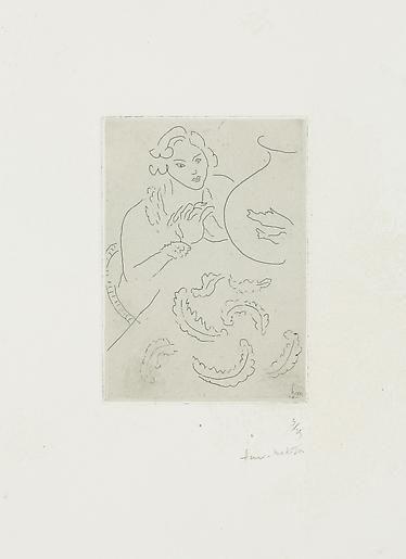 Figure Mains jointes et Nappe à Décor persan (D. 183) 1929,