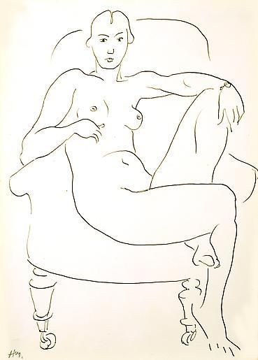 Femme nue assise dans un fauteuil ,