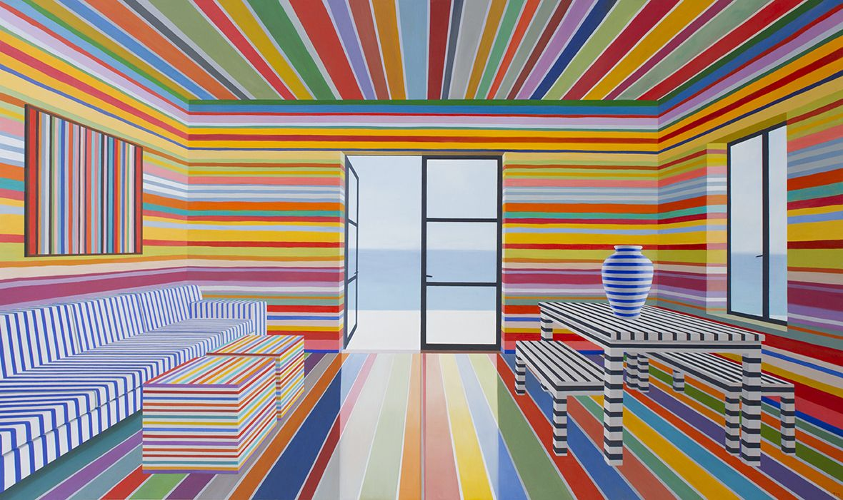Rainbow Striped Room, 2017Oil on panel49 x 84inches