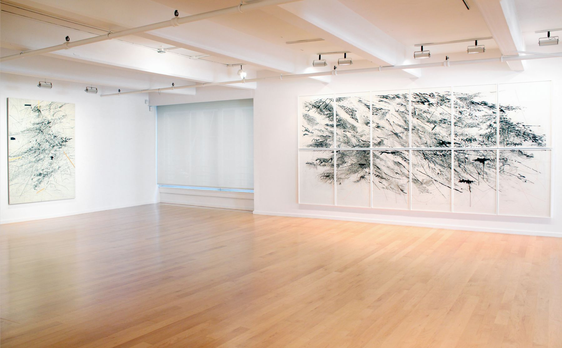 Installation view of Julie Mehretu, Paintings and Works on Paper, 2015
