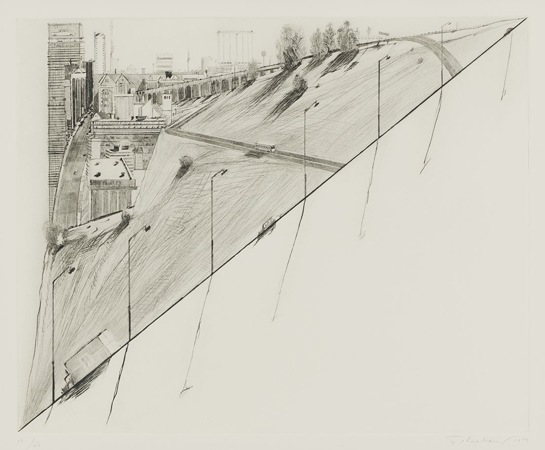 Wayne Thiebaud Diagonal Ridge, from Recent Etchings II, 1979