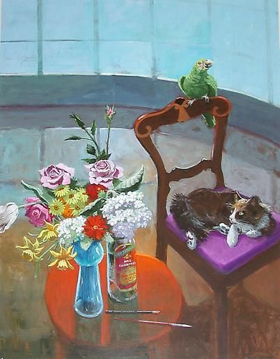 Paul Wonner Room with Curved Window Cat and Bird, 2000
