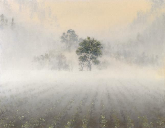 Stephen Hannock Vineyard Hillside with Clearing Fog (Mass MoCA #118), 2009
