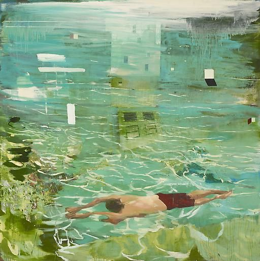 Diver 2008 oil on linen mounted on panel