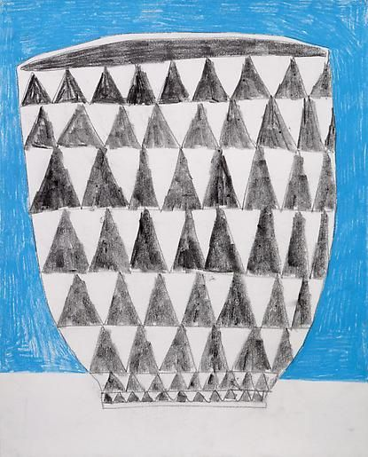 Jonas Wood Triangle Pot with Blue Background, 2009