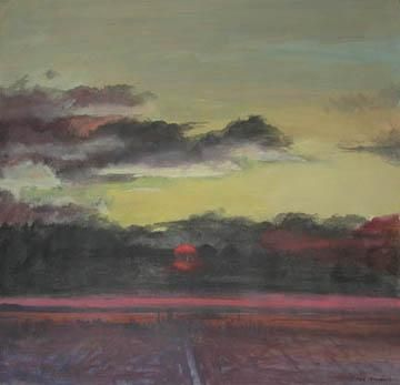 27 Studies for Romantic Views of San Francisco #6: View with Red Sun through Dark Clouds