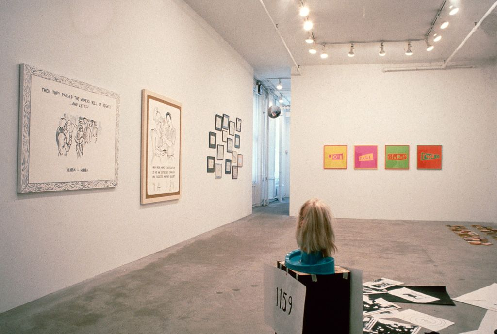 "Installation view: ""Karen Kilimnik, Sue Williams, Gavin Brown,"" 303 Gallery, 1990"
