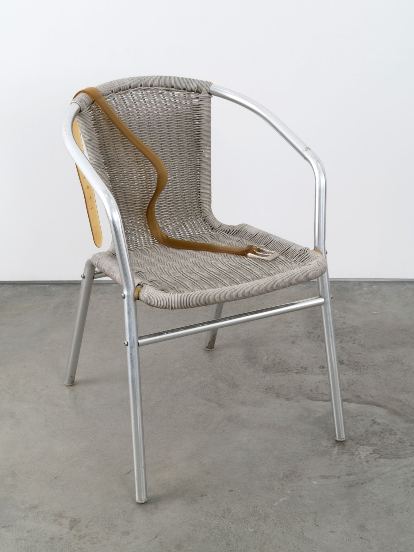 Valentin Carron, Belt on braided chair, 2014