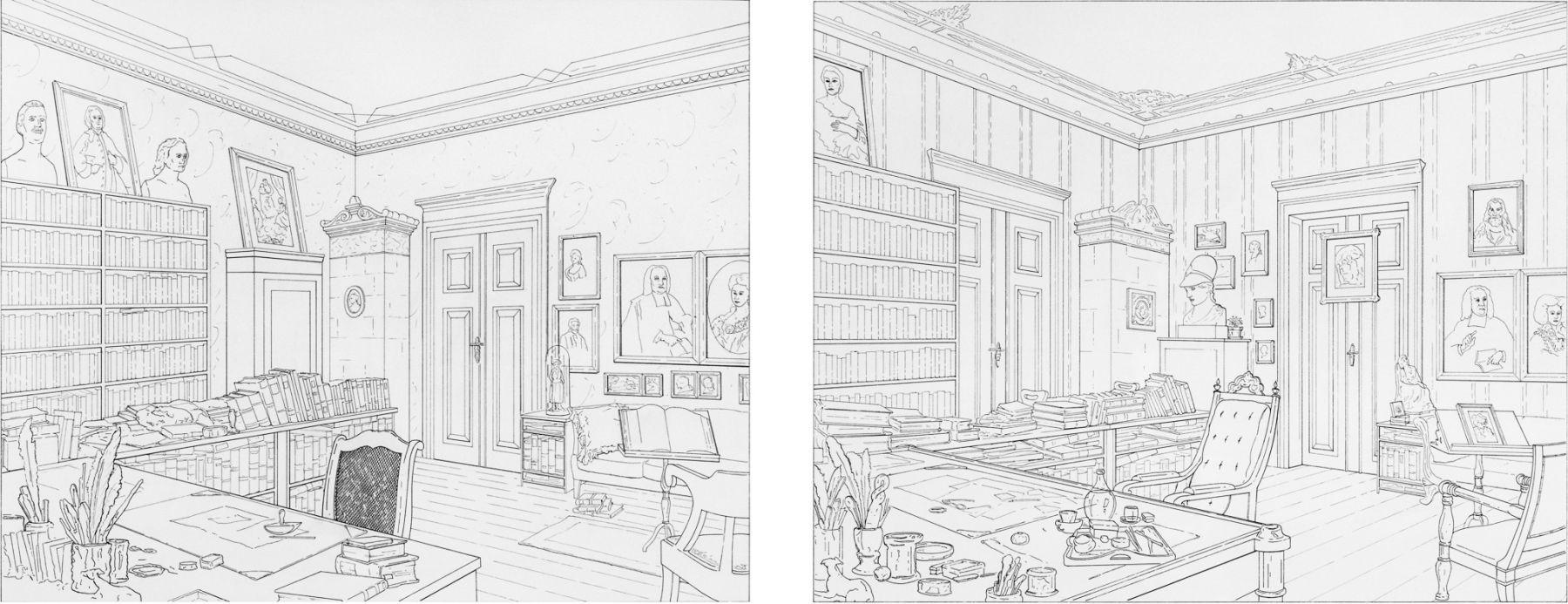 Rodney Graham, Jacob Grimm's Study in Berlin - Wilhelm Grimm's  Study in Berlin 1860, 1993