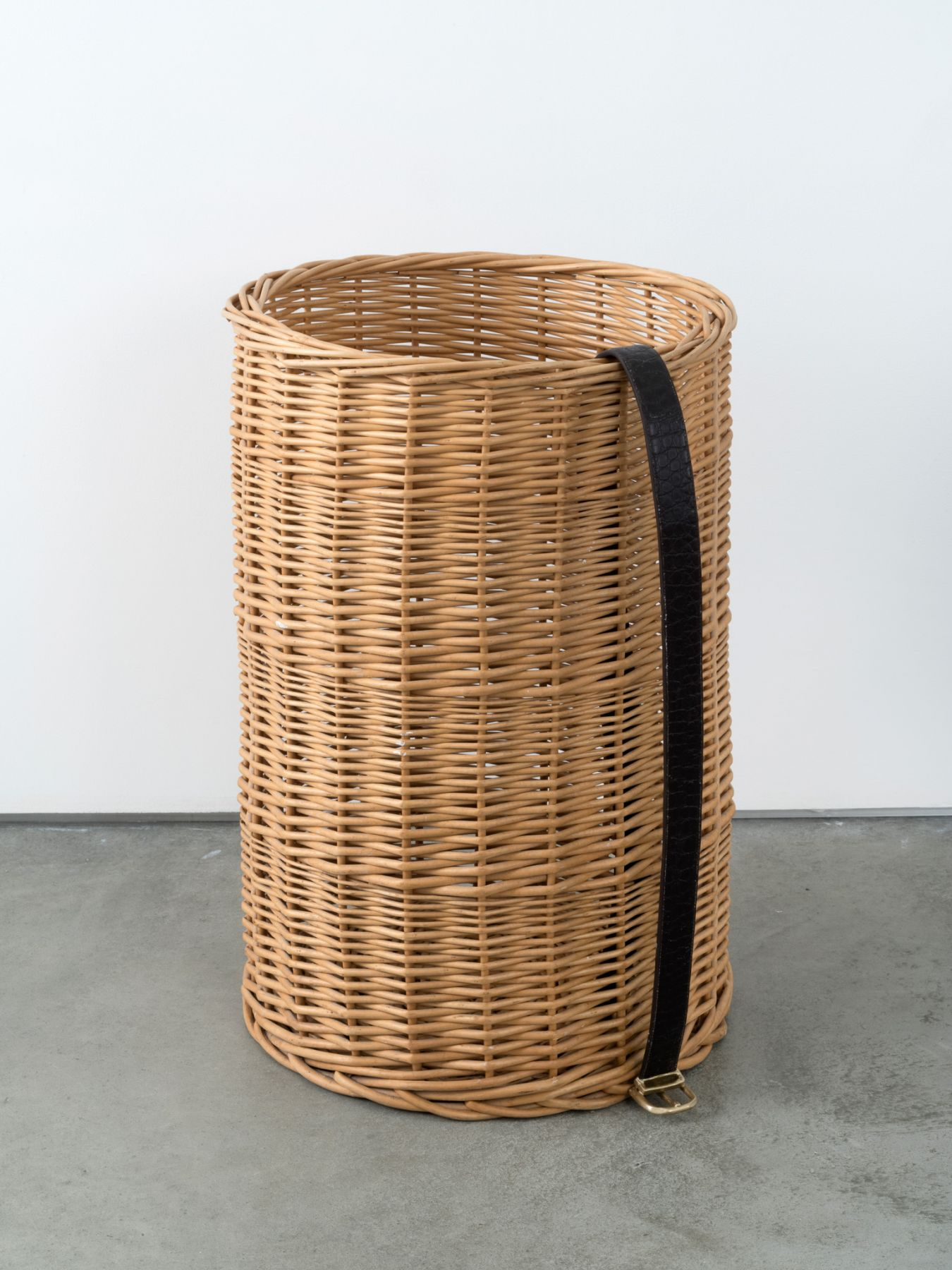 Valentin Carron, Belt on rattan basket, 2014