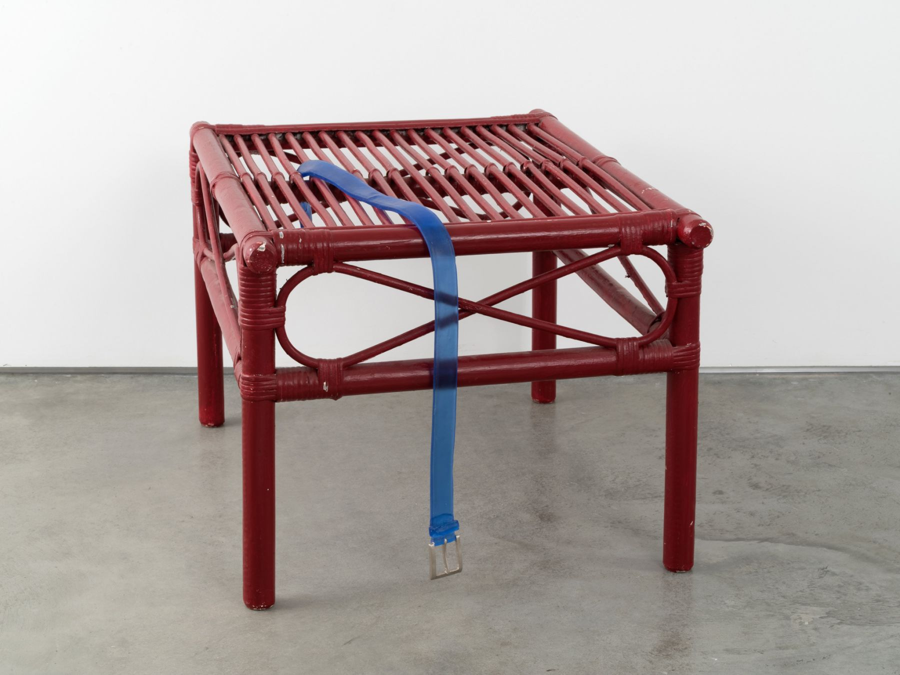 Valentin Carron, Belt on bamboo table, 2014