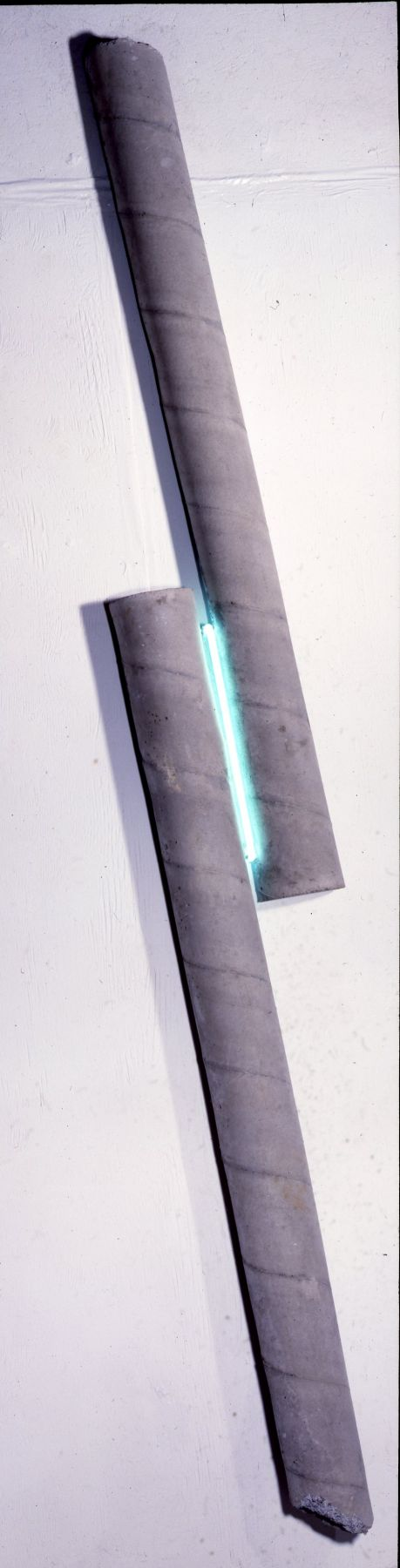 Two Bars of Concrete with a Turquoise Neon