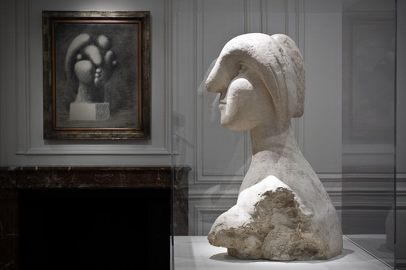 "From left to right: ""Sculpture of a Head: Marie-Thérèse,"" Fondation Beyeler, Riehen/Basel, ""Bust of a Woman,"" Collection of Mr. and Mrs. Herbert Klapper"