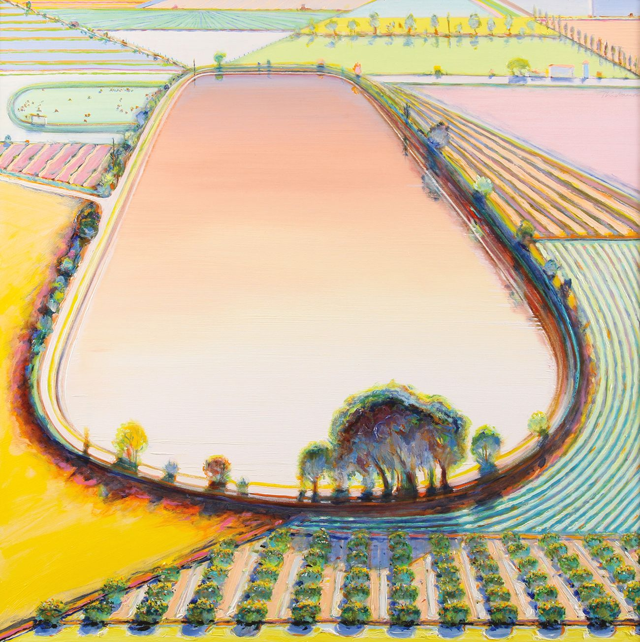 Wayne Thiebaud, Reservoir and Orchard,2001, oil on canvas, 40 x 40 inches (101.6 x 101.6 cm), Collection of Wayne and Betty Jean Thiebaud. Art ©Wayne Thiebaud / Licensed by VAGA, New York, NY