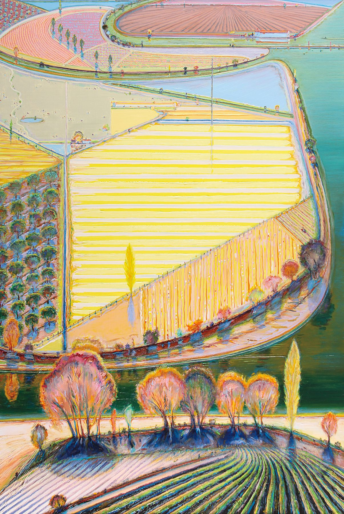 Wayne Thiebaud, Green River Lands, 1998, Oil on canvas, 72 x 48 inches