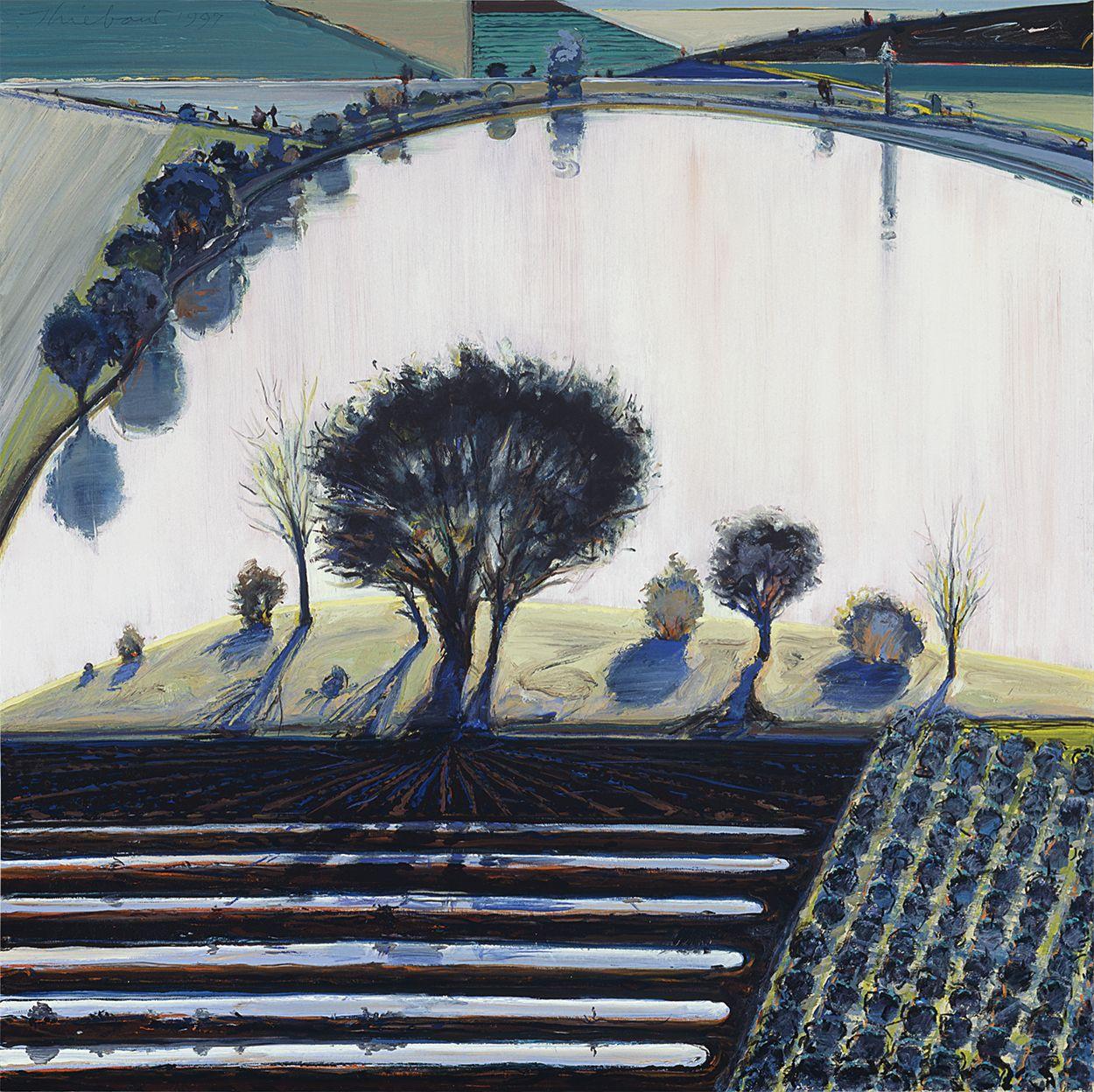 Wayne Thiebaud, River Pool,1997, oil on canvas, 36 x 35 3/4 inches (91.4 x 90.8 cm), Acquavella Galleries. Art ©Wayne Thiebaud / Licensed by VAGA, New York, NY