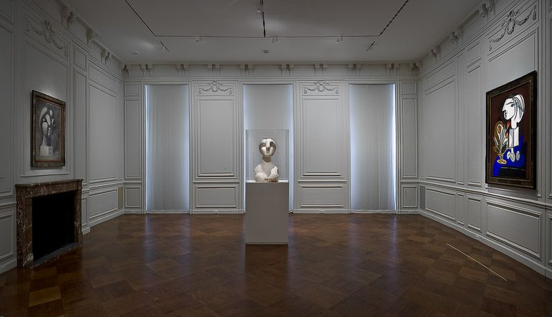 "From left to right: ""Sculpture of a Head: Marie-Thérèse,"" Fondation Beyeler, Riehen/Basel; ""Bust of a Woman;"" ""Still Life with Tulips,"" Private Collection"