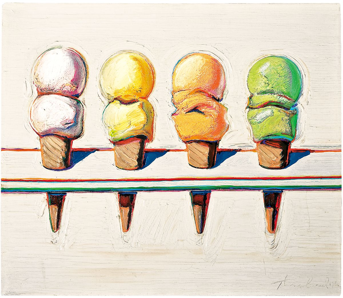 Wayne Thiebaud, Four Ice Cream Cones,1964, oil on canvas, 14 x 16 in. (35.6 x 40.6 cm). Collection of Phoenix Art Museum, Museum purchase - COMPAS Funds. Photo by Ken Howie / Art ©Wayne Thiebaud / Licensed by VAGA, New York, NY