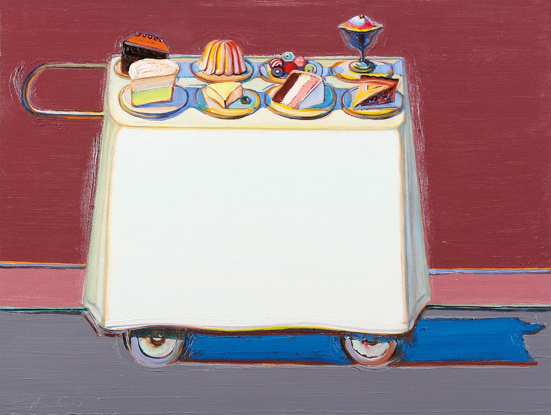 Wayne Thiebaud, Cafe Cart, 2012, oil on canvas, 30 x 39 7/8 inches (76.2 x 101.3 cm), Acquavella Galleries. Art © Wayne Thiebaud / Licensed by VAGA, New York, NY