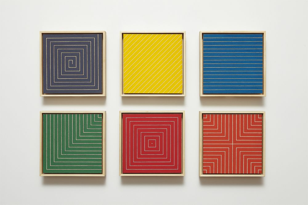 Frank Stella, Benjamin Moore Paintings (New Madrid, Sabine Pass, Palmito Ranch, Hampton Roads, Island No. 10, Delaware Crossing), 1961, Alkyd on canvas in six parts, each canvas 12 x 12 inches
