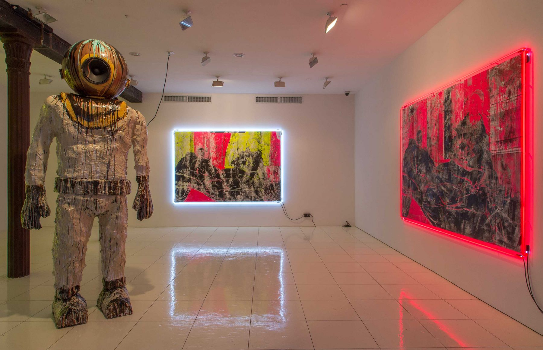 Installation view: The Bruce High Quality Foundation,Mother, Vito Schnabel, 2015, New York