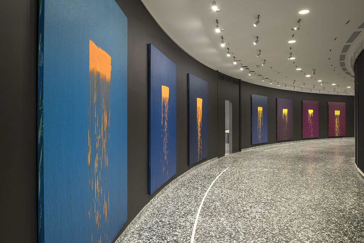 Installation view, Pat Steir: Color Wheel, the Hirshhorn Museum and Sculpture Garden, 2018–19