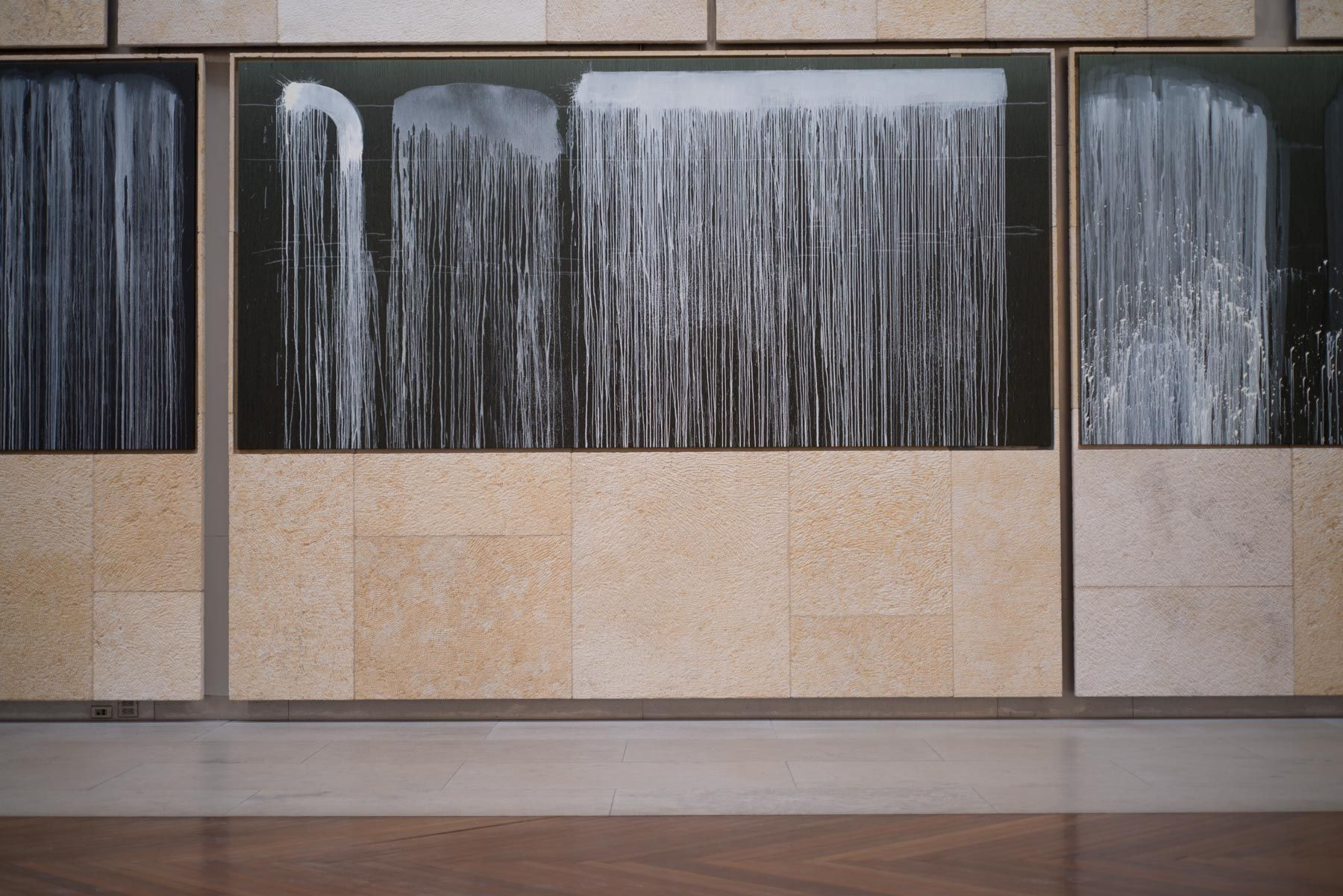 Installation view, Pat Steir Silent Waterfalls: The Barnes Series, The Barnes Foundation, Philadelphia, Pennsylvania, 2019