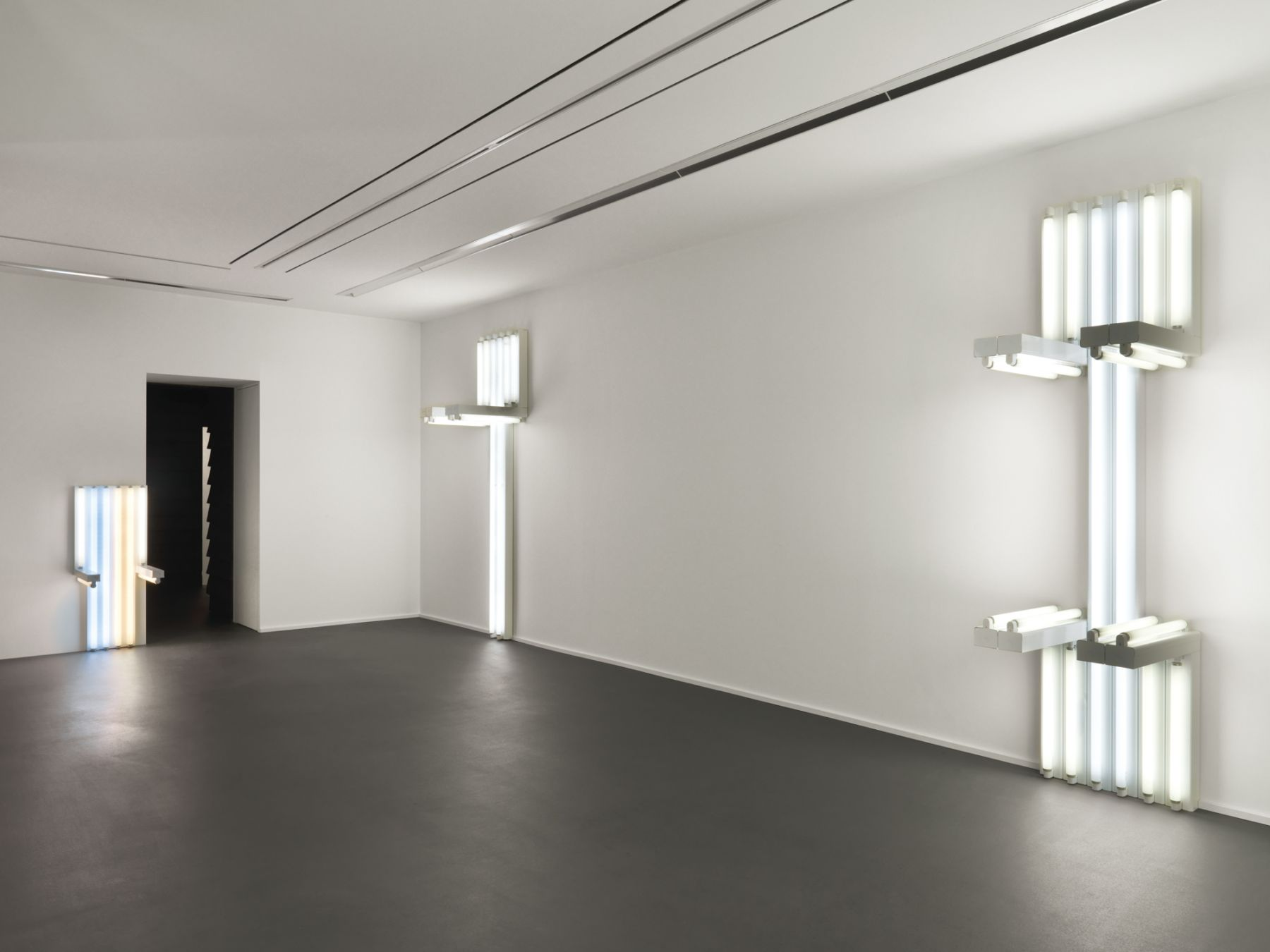 Installation view, Dan Flavin, to Lucie Rie and Hans Coper, master potters, Vito Schnabel Gallery, St. Moritz