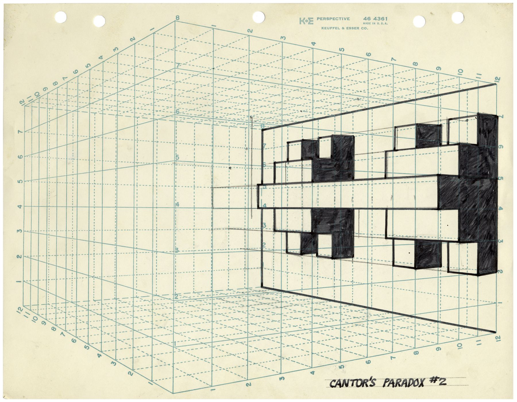 Mel Bochner,Cantor's Paradox #2,1966. Ink and pencil on graph paper, 8 1/2 x 11 inches.