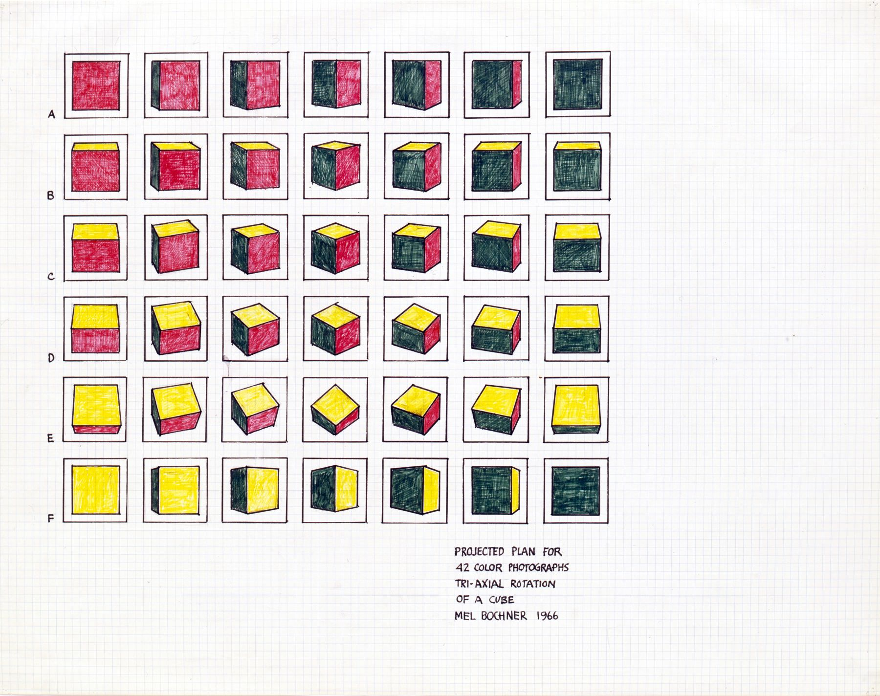 Mel Bochner,Projected Plan for 42 Photographs (Tri-Axial Rotation of a Cube), 1966.