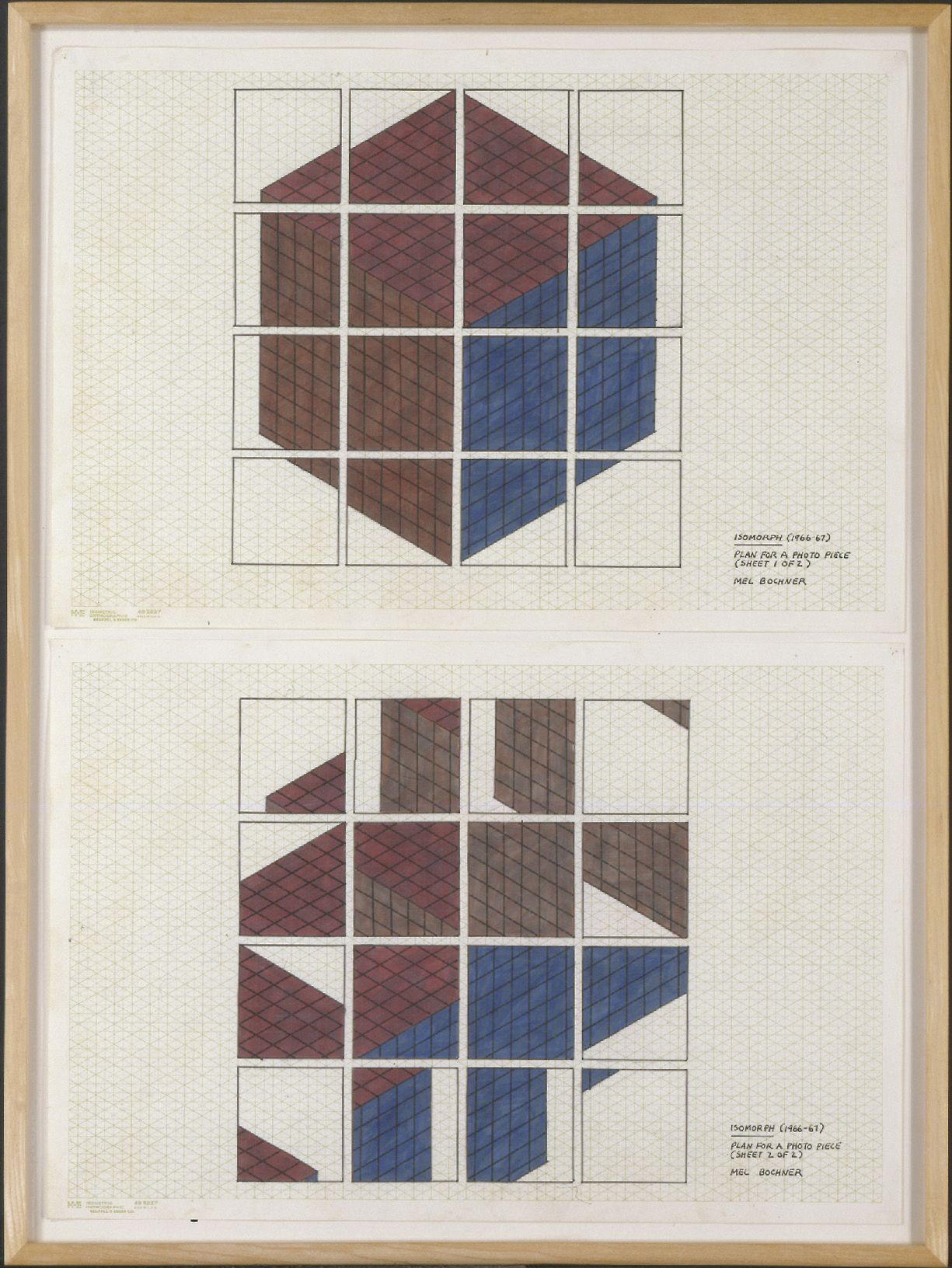 Mel Bochner,Isomorph (Plan for a Photo Piece), 1967. Ink and felt tip on graph paper, two sheets: 13 x 19 inches, each.