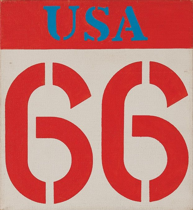 Robert Indiana, Route 66, 1962. Oil on canvas, 12-1⁄4 x 11-1⁄2 inches., Weatherspoon Art Museum, The University of North Carolina at Greensboro, Museum purchase with funds from the Benefactors Fund, 1987. © 2015 Morgan Art Foundation. Artist Rights Society (ARS), NY.