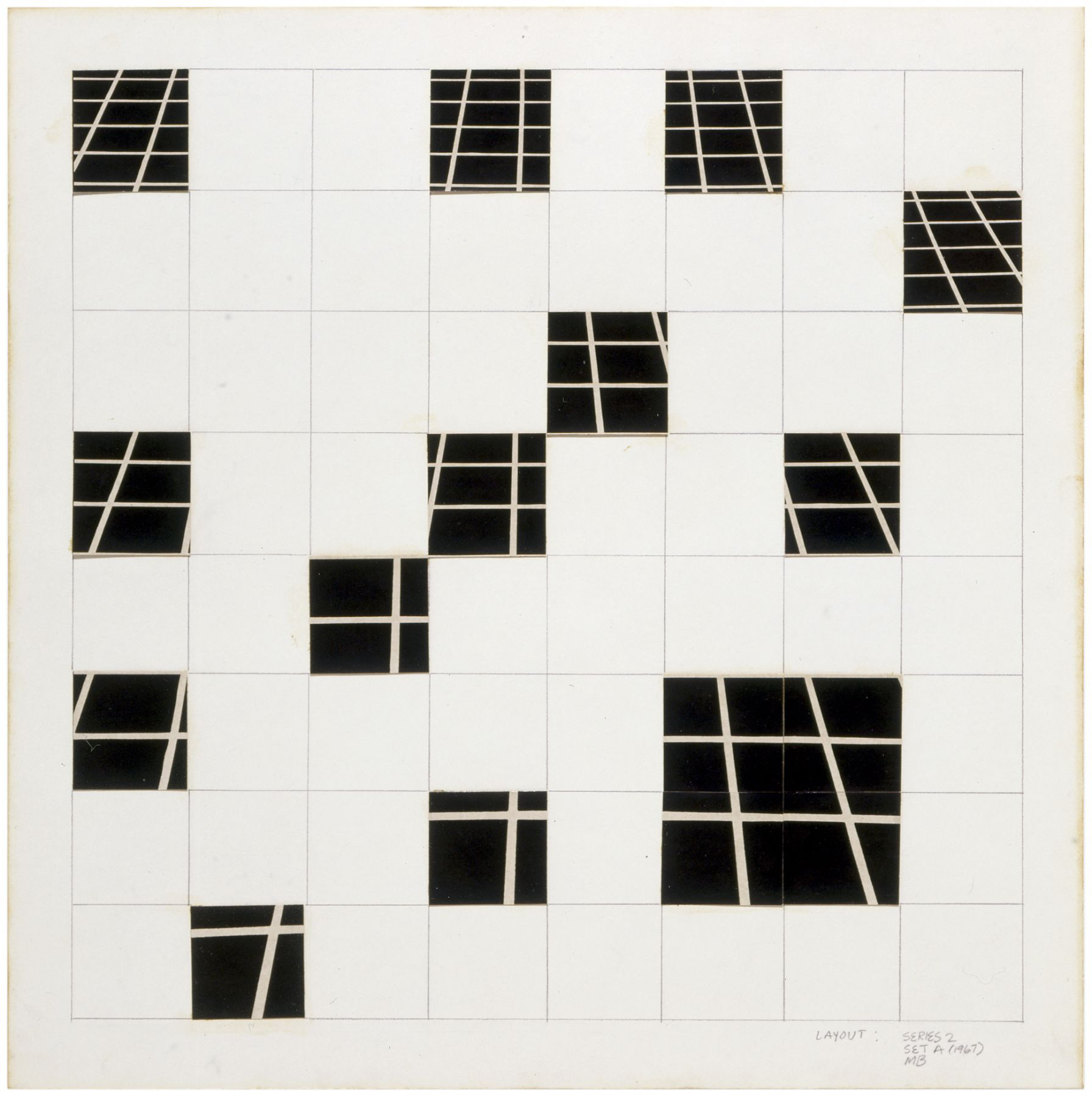 Mel Bochner,Dispersed Perspective (One Point), 1967. Photocollage and pencil on board, 17 x 17 inches.