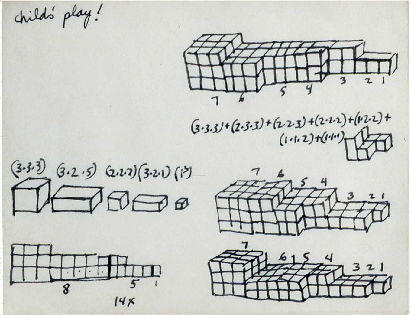 """Mel Bochner,Untitled (""""Child's Play!"""": Study for 7-Part Progression), 1966. Ink on paper, 5 2/3 x 7 inches."""