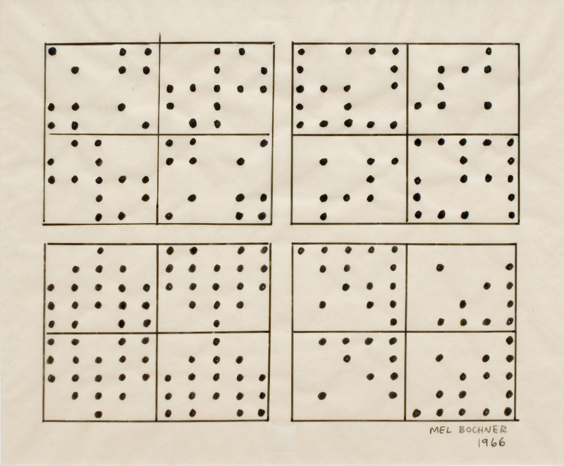 Mel Bochner,Four Sets: Rotations and Reversals, 1966. Ink on tracing paper, 12 x 15 inches.