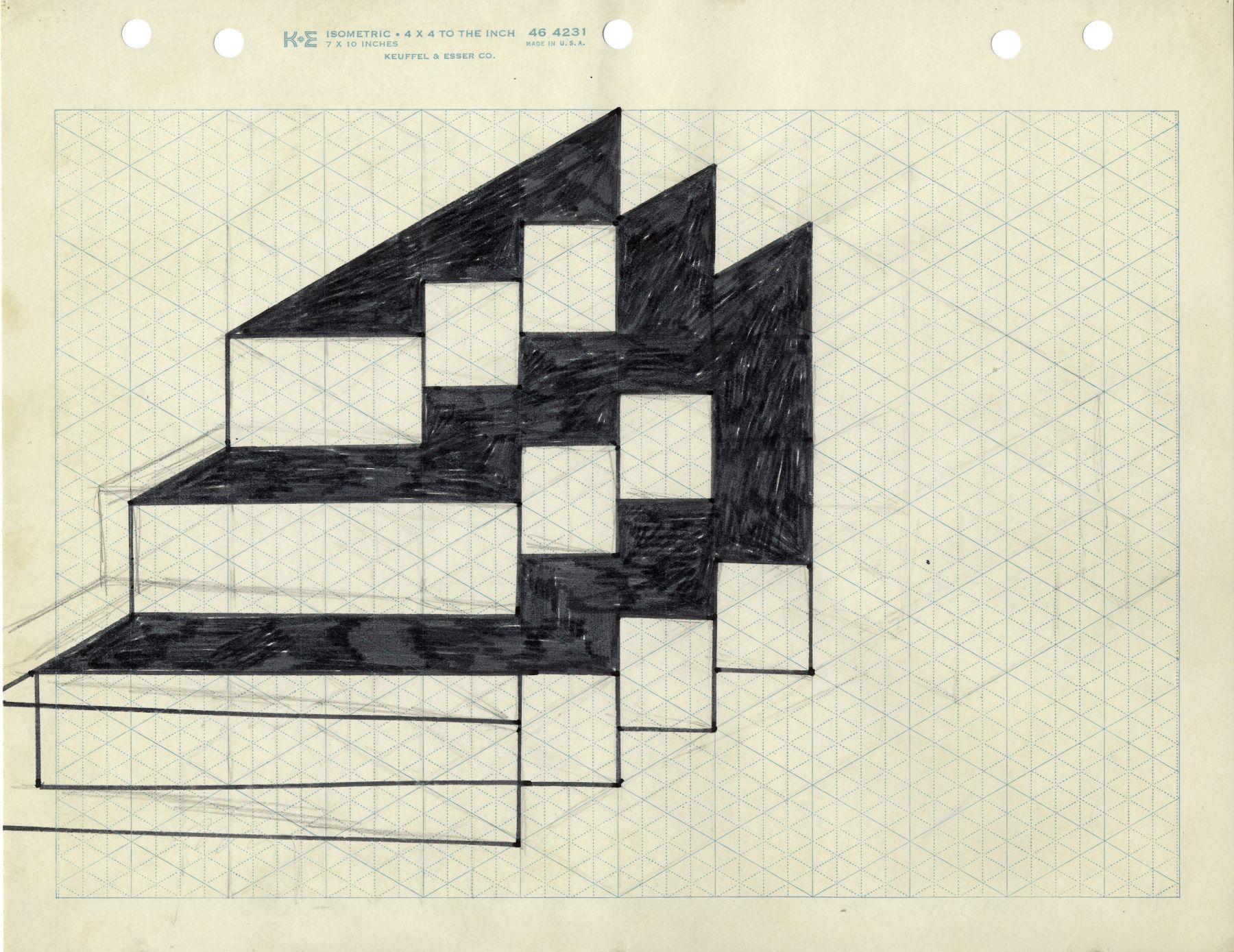 Mel Bochner,Untitled (Study for 3x3), 1966. Ink and pencil on graph paper, 8 1/2 x 11 inches.